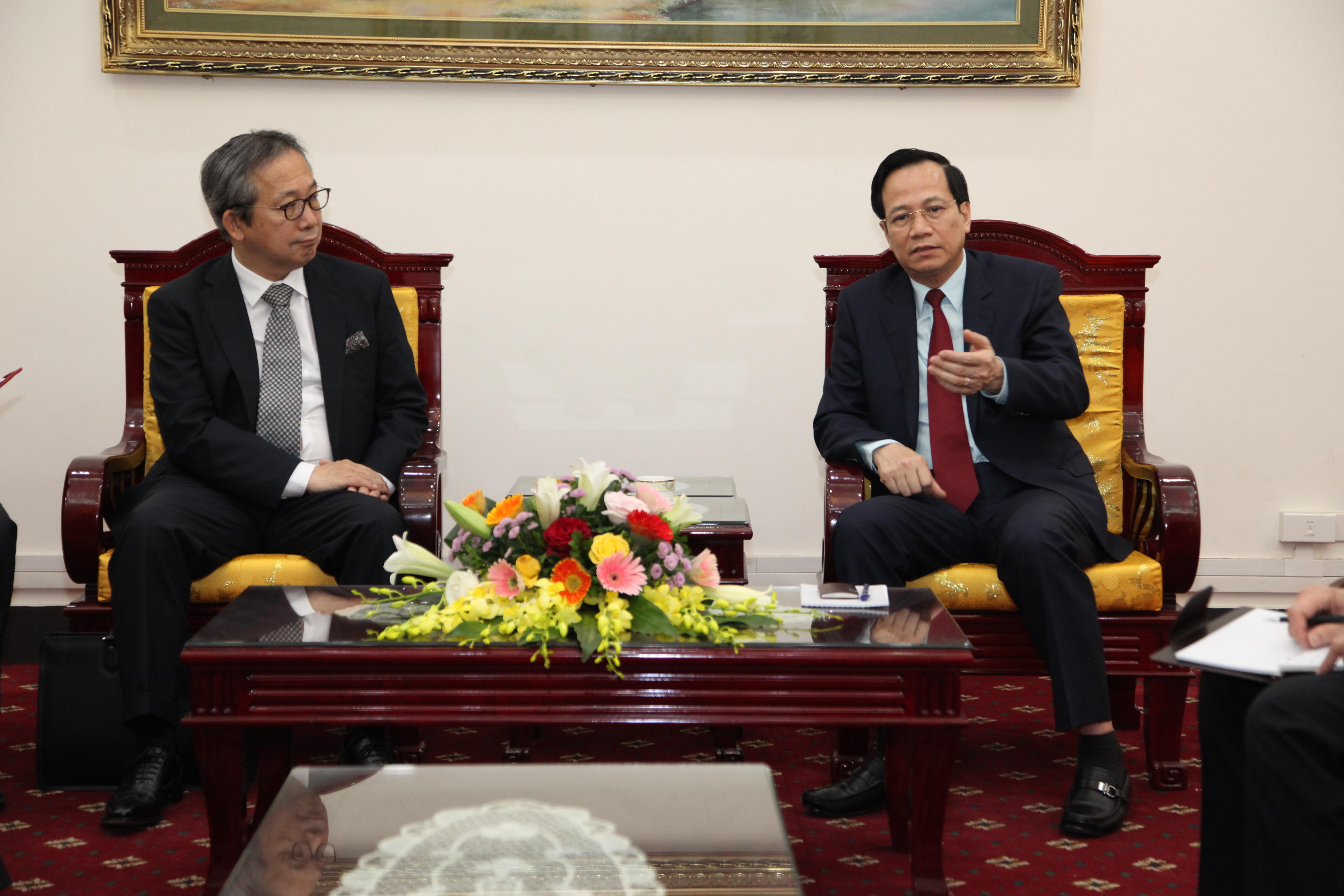 Bộ trưởng Đào Ngọc Dung tiếp Tân Đại sứ Nhật Bản tại Việt Nam
