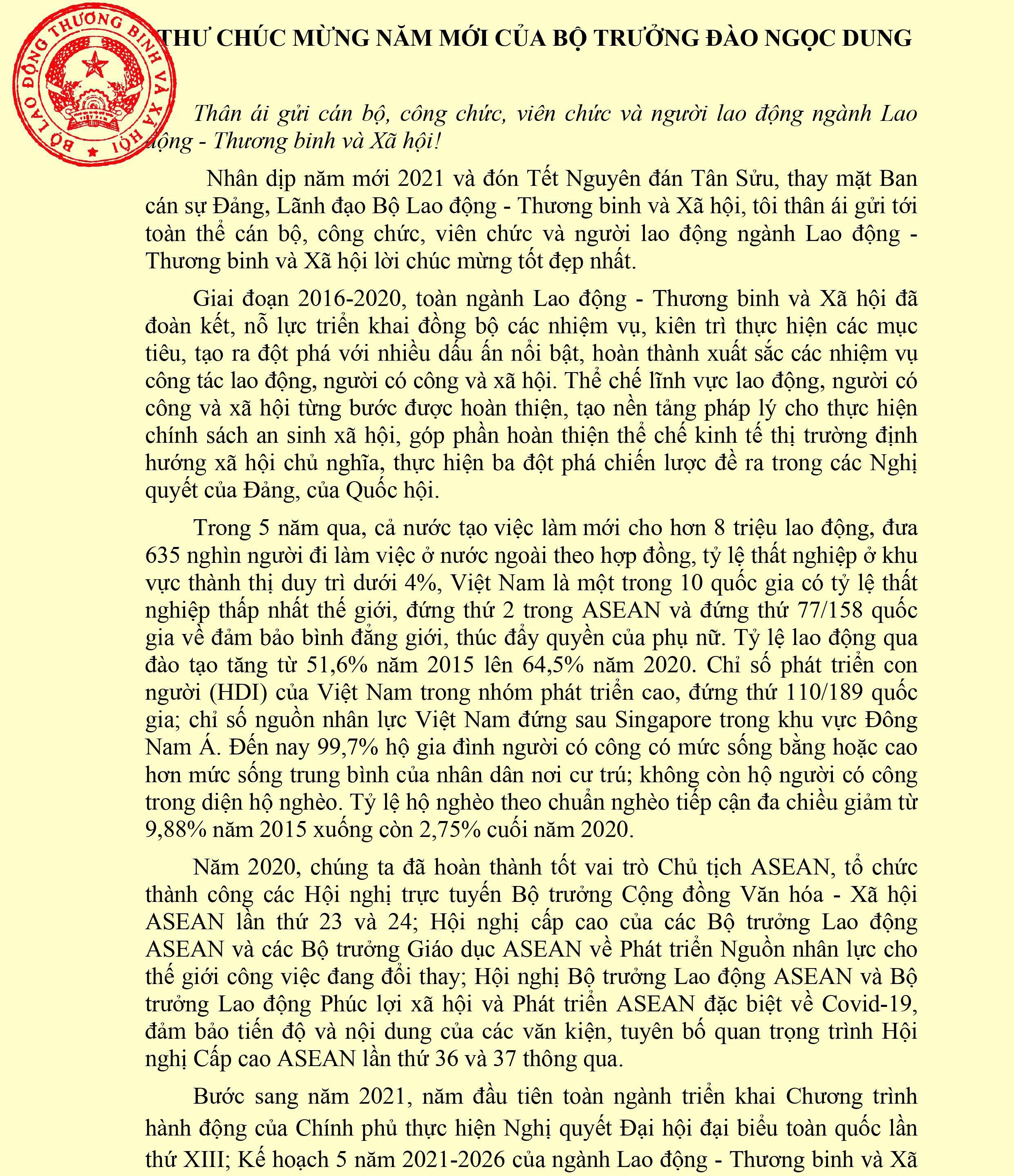 Thư Chúc mừng năm mới của Bộ trưởng Bộ Lao động – Thương binh và Xã hội Đào Ngọc Dung